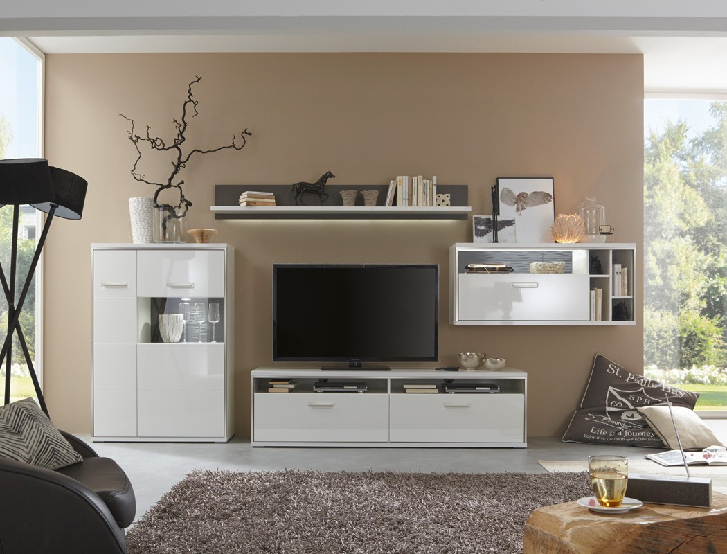 wohnwand travis 20 wei hochglanz 4 teilig medienwand tv. Black Bedroom Furniture Sets. Home Design Ideas