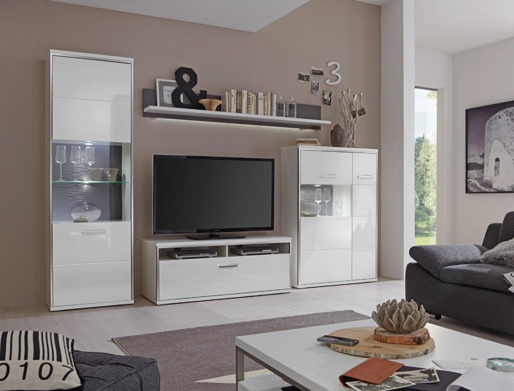 wohnwand travis 21 wei hochglanz 4 teilig medienwand tv m bel tv wand wohnbereiche wohnzimmer. Black Bedroom Furniture Sets. Home Design Ideas