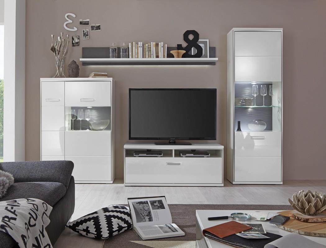 wohnwand travis 22 wei hochglanz 4 teilig medienwand tv m bel tv wand wohnbereiche wohnzimmer. Black Bedroom Furniture Sets. Home Design Ideas
