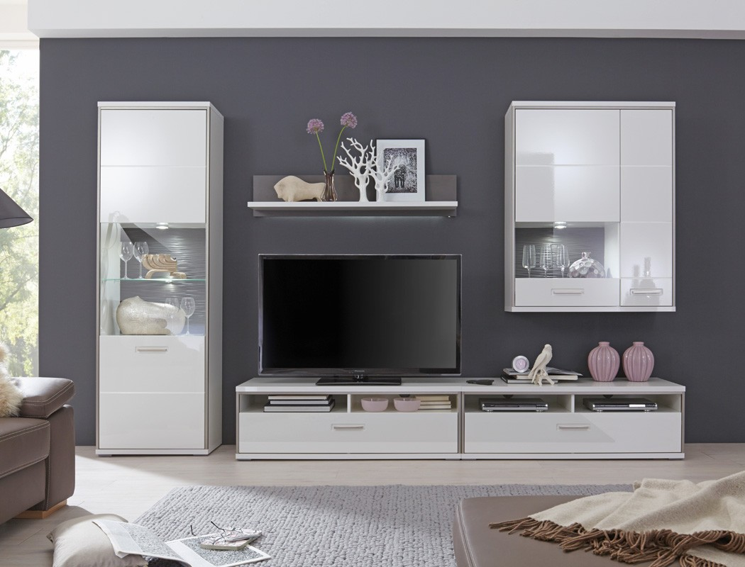 wohnwand travis 23 wei hochglanz 5 teilig medienwand tv m bel tv wand wohnbereiche wohnzimmer. Black Bedroom Furniture Sets. Home Design Ideas
