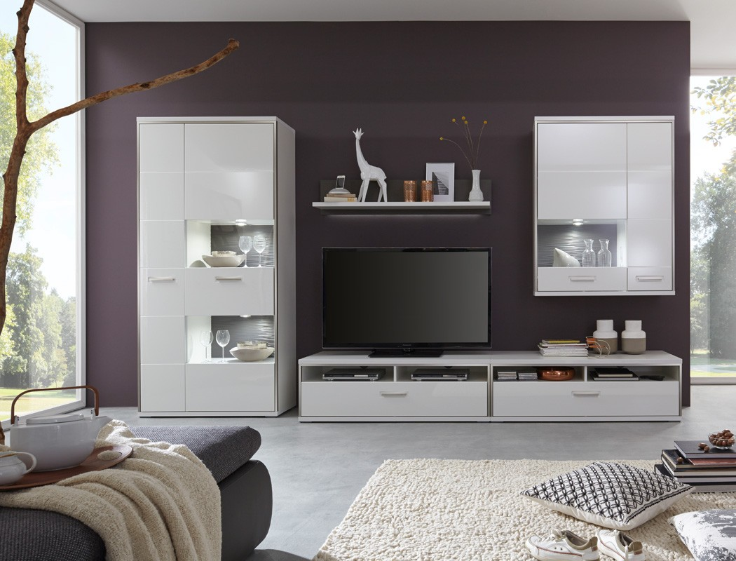 wohnwand travis 24 wei hochglanz 5 teilig medienwand tv. Black Bedroom Furniture Sets. Home Design Ideas