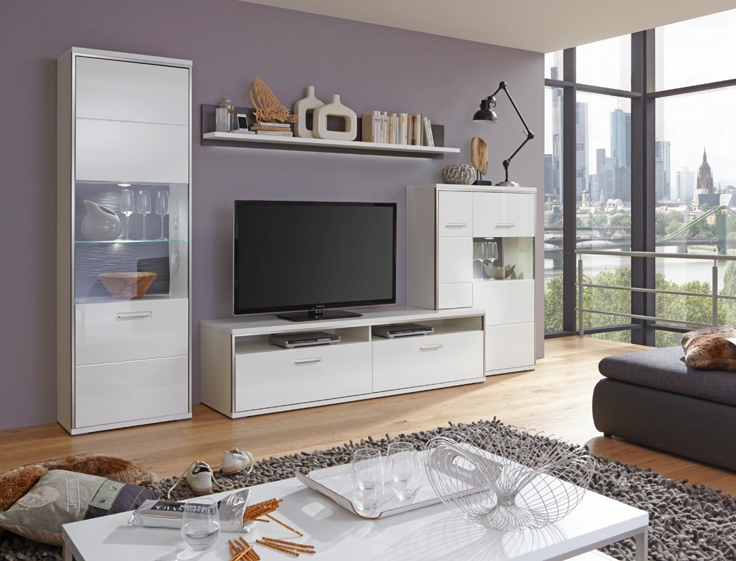 wohnwand travis 26 wei hochglanz 4 teilig medienwand tv. Black Bedroom Furniture Sets. Home Design Ideas