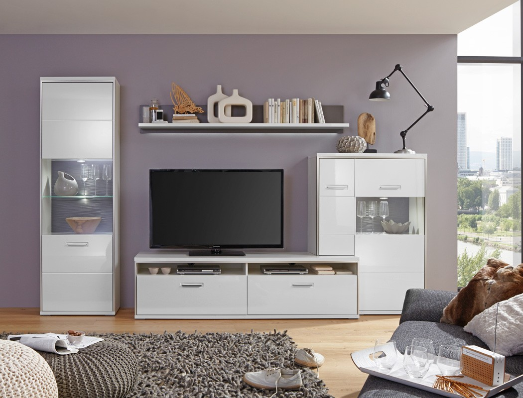 wohnwand travis 26 wei hochglanz 4 teilig medienwand tv m bel tv wand wohnbereiche wohnzimmer. Black Bedroom Furniture Sets. Home Design Ideas