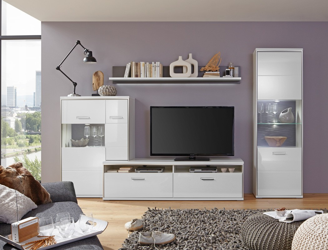 wohnwand travis 27 wei hochglanz 4 teilig medienwand tv m bel tv wand wohnbereiche wohnzimmer. Black Bedroom Furniture Sets. Home Design Ideas