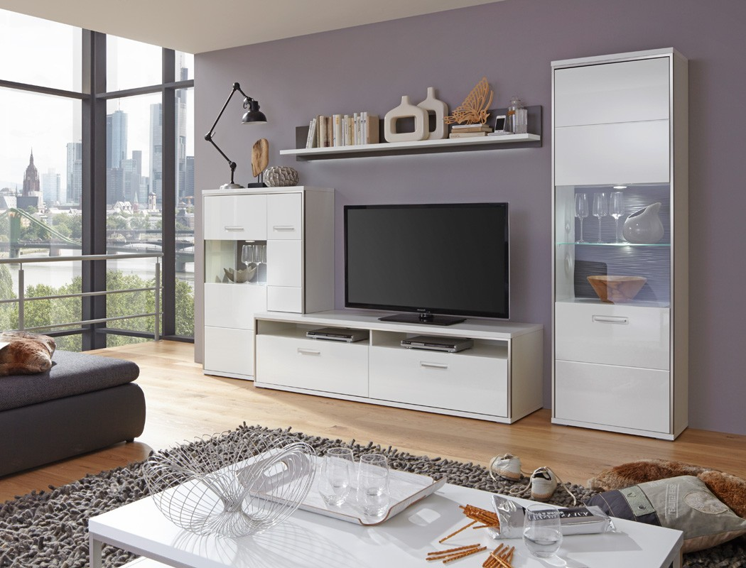 wohnwand travis 27 wei hochglanz 4 teilig medienwand tv m bel tv wand wohnbereiche wohnzimmer. Black Bedroom Furniture Sets. Home Design Ideas