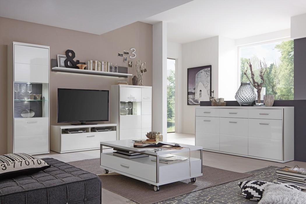 wohnzimmer travis 30 wei hochglanz 6 teilig wohnwand. Black Bedroom Furniture Sets. Home Design Ideas