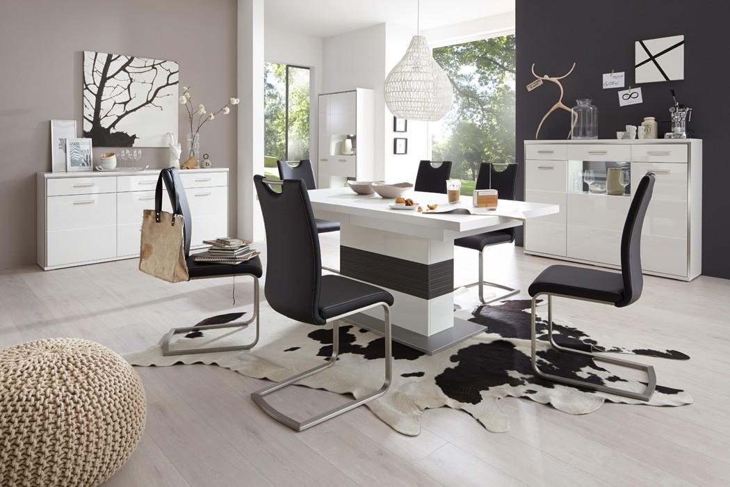 esszimmer travis 40 wei hochglanz 4 teilig esstisch sideboard vitrine wohnbereiche esszimmer. Black Bedroom Furniture Sets. Home Design Ideas