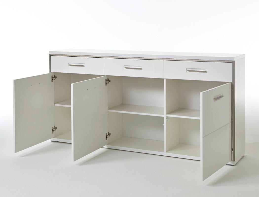 Esszimmer travis 41 wei hochglanz 6 teilig esstisch for Sideboard esszimmer design