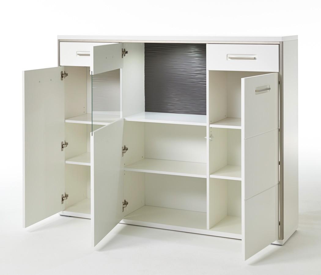 esszimmer travis 42 wei hochglanz 4 teilig esstisch sideboard vitrine wohnbereiche esszimmer. Black Bedroom Furniture Sets. Home Design Ideas