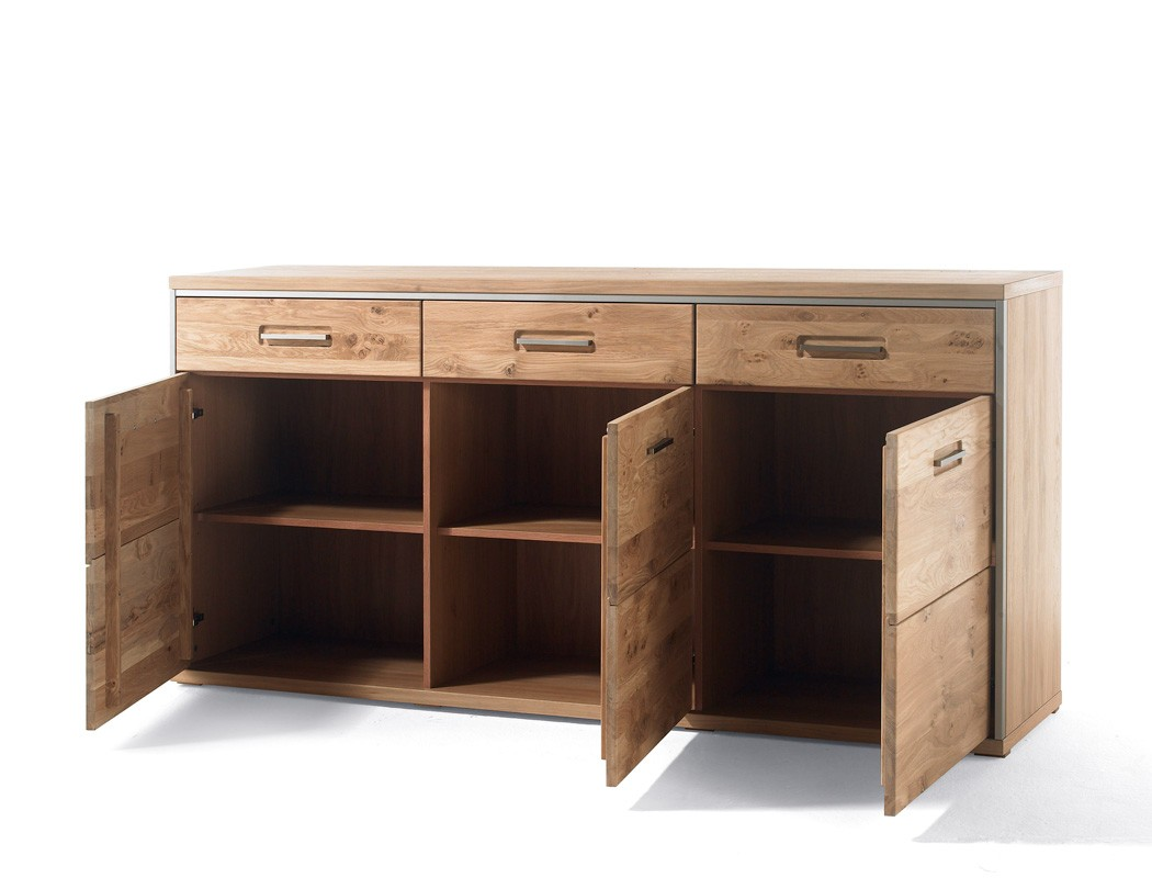 sideboard esma 1 eiche bianco teilmassiv 184x89x45 cm. Black Bedroom Furniture Sets. Home Design Ideas