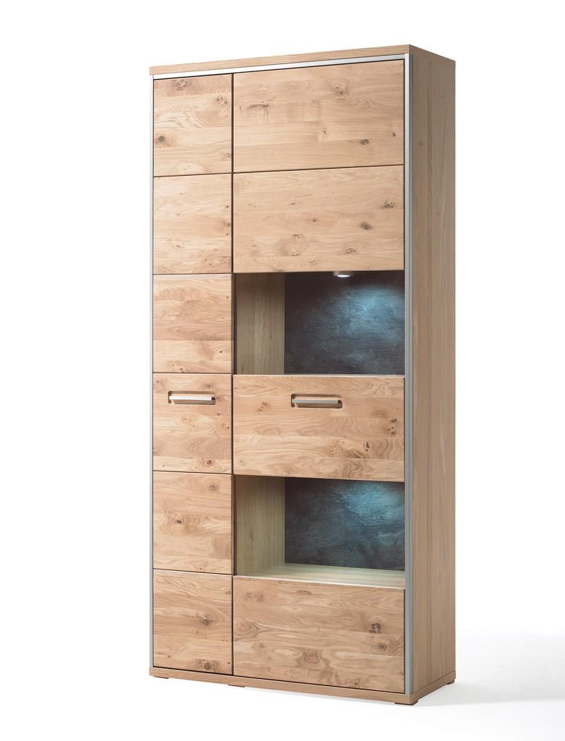 vitrine esma 4 eiche bianco 94x201x39 cm glasvitrine. Black Bedroom Furniture Sets. Home Design Ideas