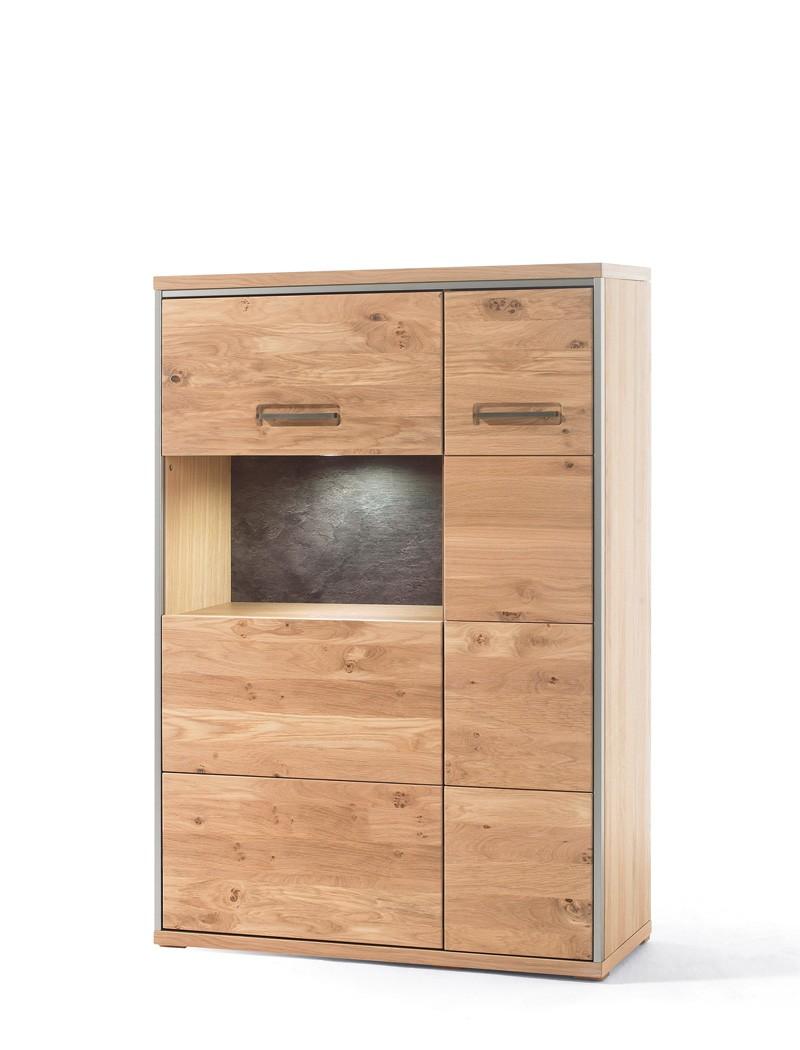highboard esma 5 eiche bianco 94x136x39 cm schrank beleuchtung wohnbereiche esszimmer sideboards. Black Bedroom Furniture Sets. Home Design Ideas