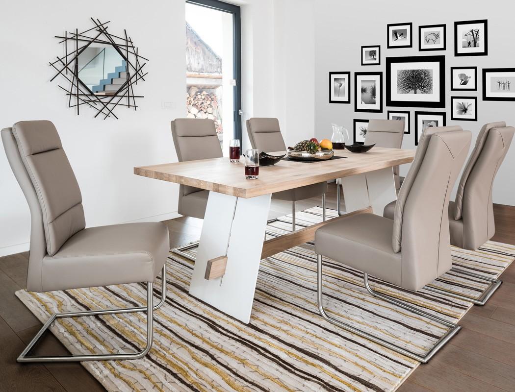 tischgruppe tisch alban eiche bianco 6 st hle nubia. Black Bedroom Furniture Sets. Home Design Ideas