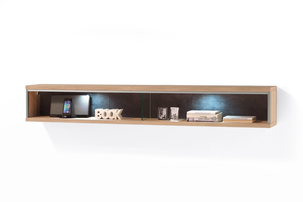 wandboard esma 12 eiche bianco 184x27x23cm wandregal regal. Black Bedroom Furniture Sets. Home Design Ideas