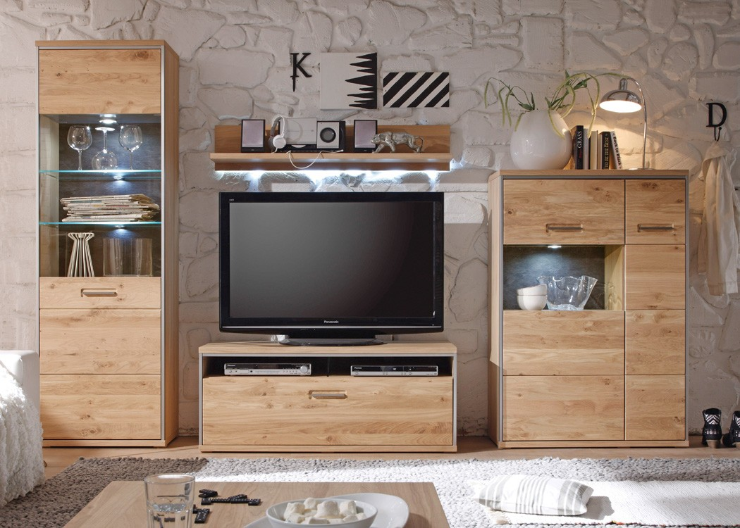 wohnwand esma 20 eiche bianco 4 teilig medienwand tv wand beleuchtung wohnbereiche wohnzimmer. Black Bedroom Furniture Sets. Home Design Ideas