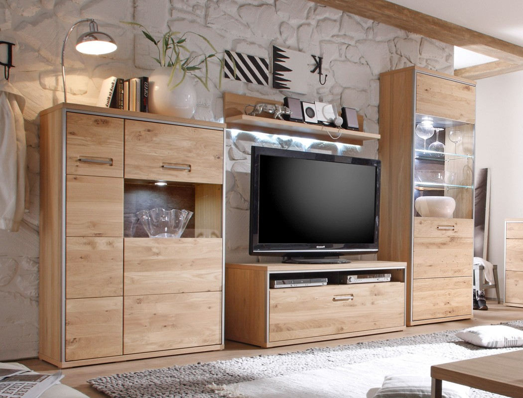 wohnwand eiche bianco 4 teilig medienwand tv wand wohnzimmer beleuchtung esma 21 ebay. Black Bedroom Furniture Sets. Home Design Ideas