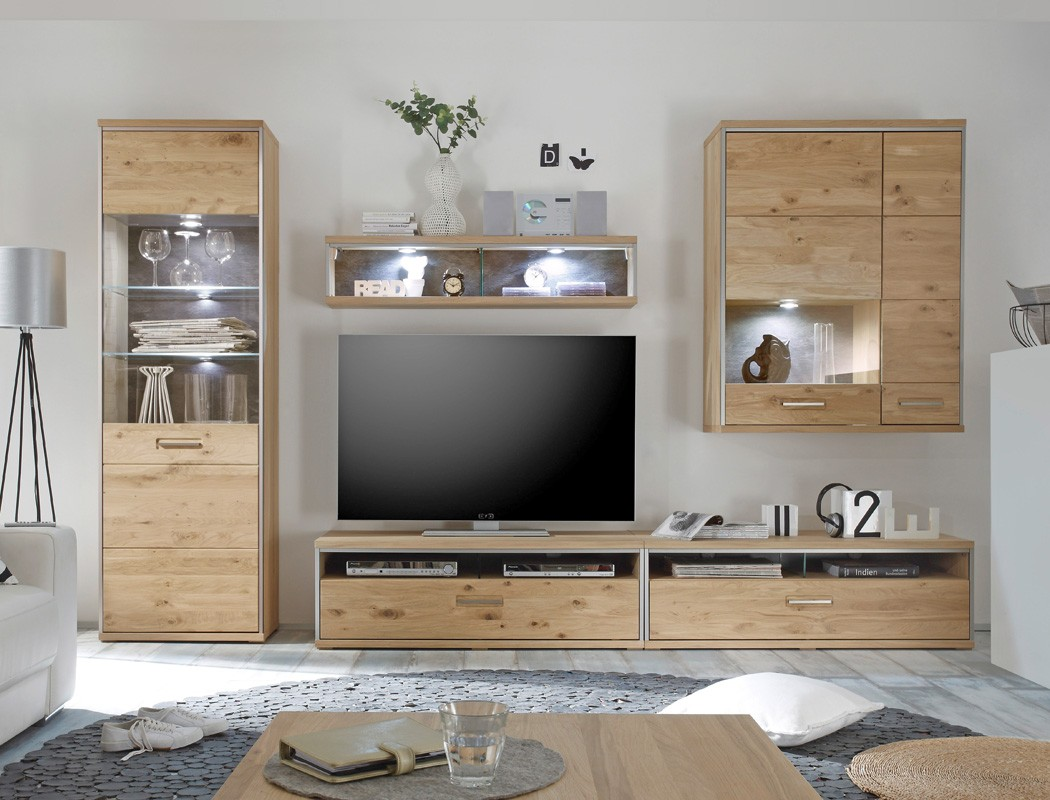 wohnwand eiche bianco 5 teilig medienwand tv wand. Black Bedroom Furniture Sets. Home Design Ideas