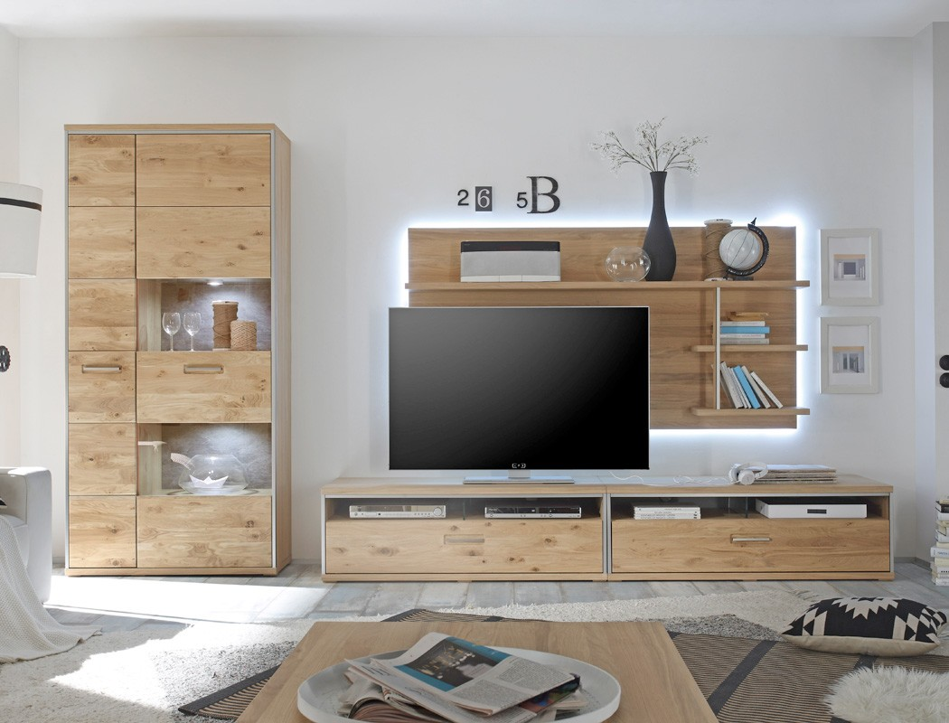 wohnwand esma 24 eiche bianco 4 teilig medienwand tv wand beleuchtung wohnbereiche wohnzimmer. Black Bedroom Furniture Sets. Home Design Ideas