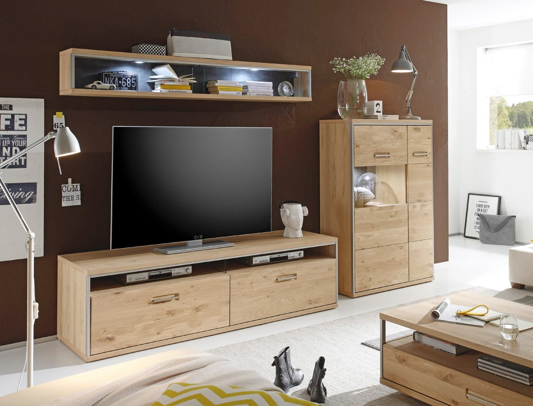wohnwand esma 25 eiche bianco 3 teilig medienwand tv wand beleuchtung wohnbereiche wohnzimmer. Black Bedroom Furniture Sets. Home Design Ideas