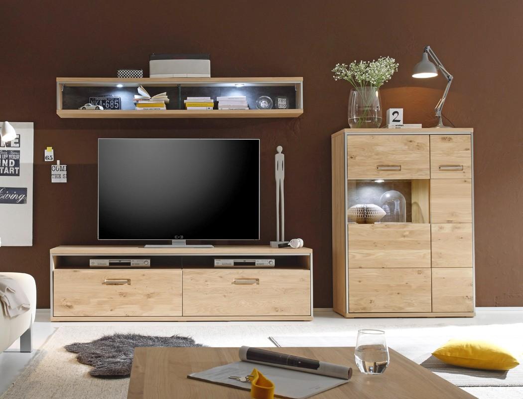 wohnwand eiche bianco 3 teilig medienwand tv wand wohnzimmer beleuchtung esma 25 ebay. Black Bedroom Furniture Sets. Home Design Ideas