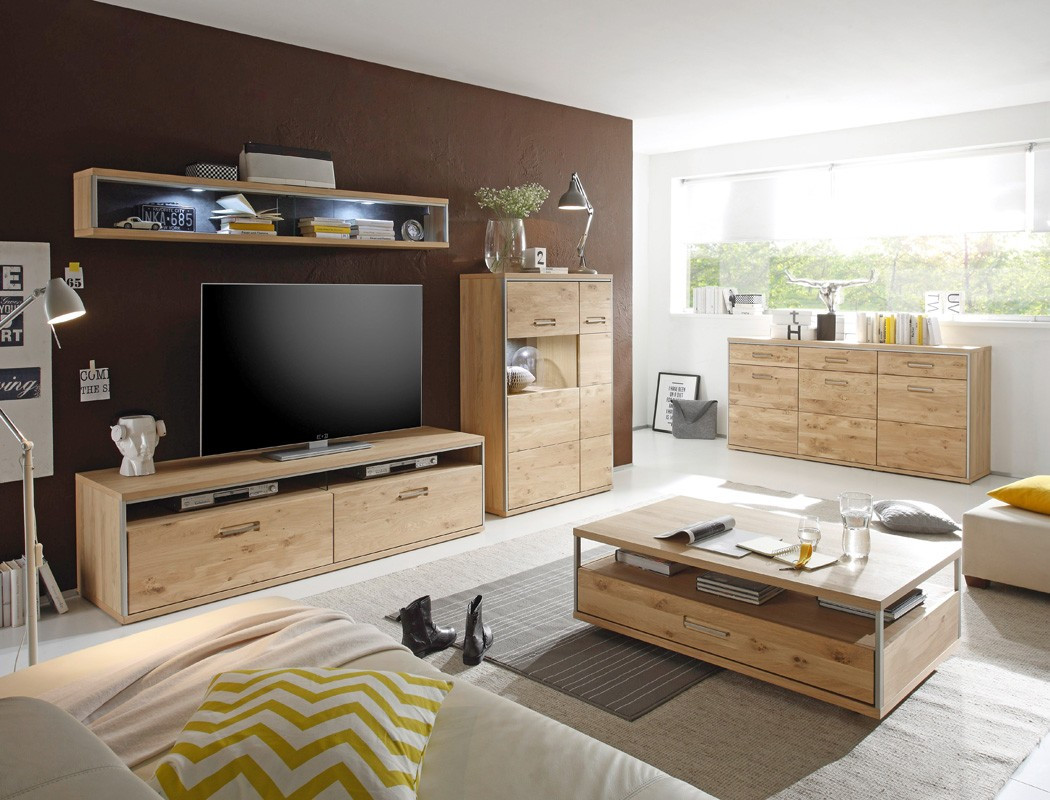 wohnwand eiche bianco 3 teilig medienwand tv wand. Black Bedroom Furniture Sets. Home Design Ideas