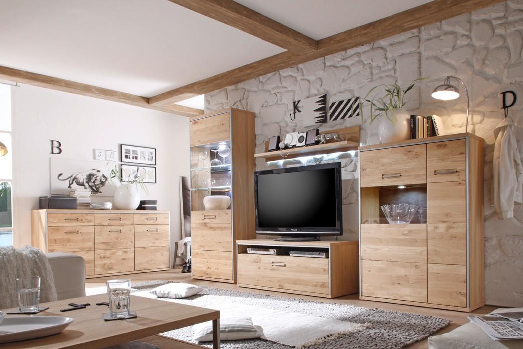 Wohnzimmer esma 30 eiche bianco 5 teilig wohnwand for Wohnzimmer eiche