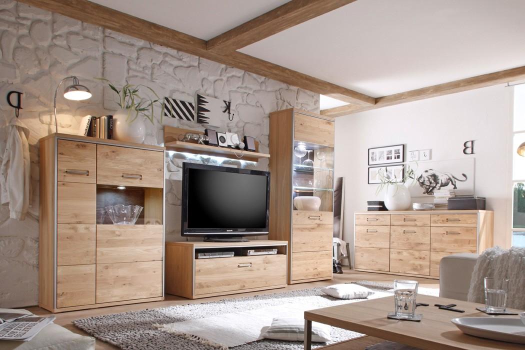 Wohnzimmer esma 31 eiche bianco 5 teilig wohnwand for Wohnzimmer eiche