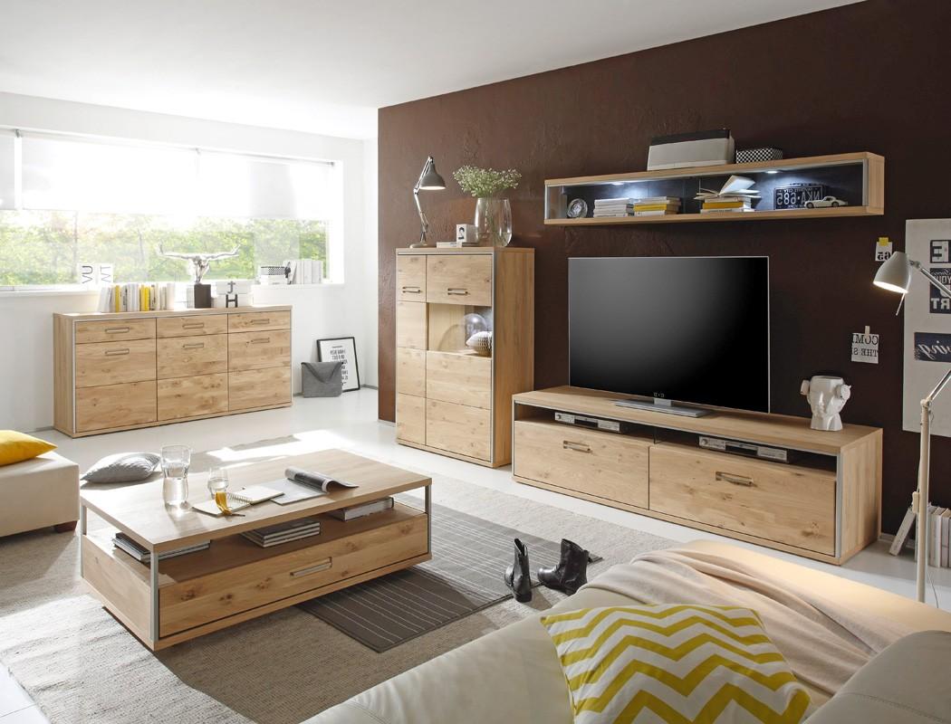 wohnzimmer eiche bianco 5 teilig wohnwand sofatisch. Black Bedroom Furniture Sets. Home Design Ideas