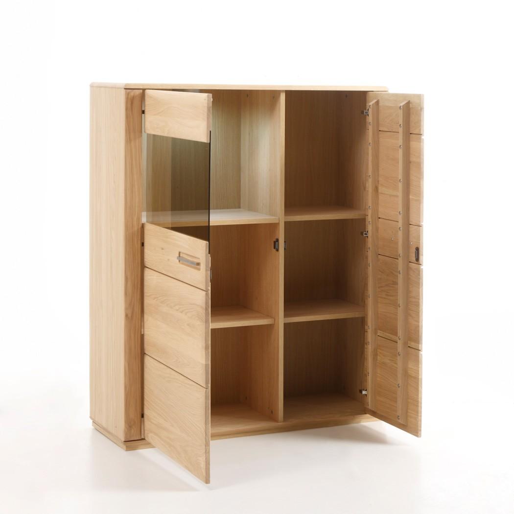 highboard senta 3 eiche bianco teilmassiv 107x132x38cm. Black Bedroom Furniture Sets. Home Design Ideas