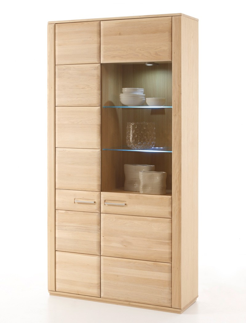 vitrine senta 5 eiche bianco teilmassiv 107x209x38 cm glasvitrine wohnbereiche esszimmer. Black Bedroom Furniture Sets. Home Design Ideas