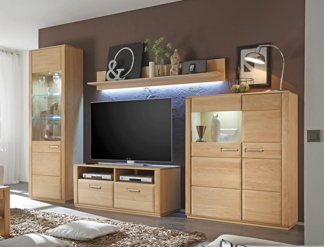 wohnwand eiche bianco teilmassiv 4 teilig medienwand tv wand wohnzimmer senta 20 ebay. Black Bedroom Furniture Sets. Home Design Ideas