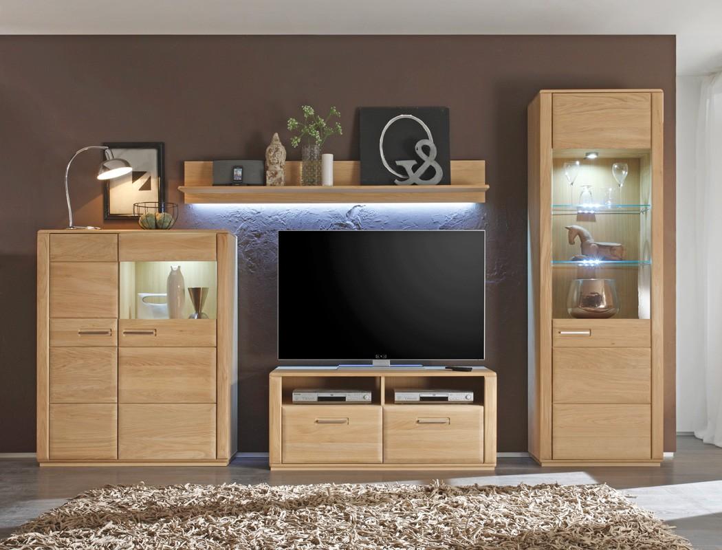 wohnwand senta 21 eiche bianco teilmassiv 4 teilig medienwand tv wand wohnbereiche wohnzimmer. Black Bedroom Furniture Sets. Home Design Ideas