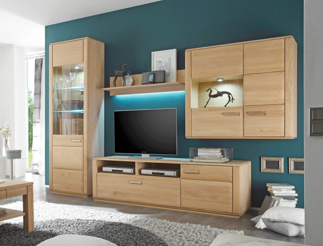 wohnwand senta 22 eiche bianco teilmassiv 4 teilig. Black Bedroom Furniture Sets. Home Design Ideas