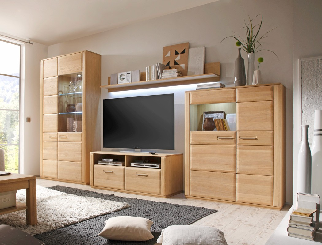 wohnwand eiche bianco teilmassiv 4 teilig medienwand tv wand wohnzimmer senta 23 ebay. Black Bedroom Furniture Sets. Home Design Ideas