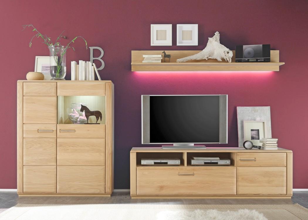 wohnwand eiche bianco teilmassiv 3 teilig medienwand tv wand wohnzimmer senta 25 ebay. Black Bedroom Furniture Sets. Home Design Ideas