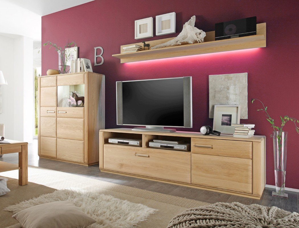 wohnwand eiche bianco teilmassiv 3 teilig medienwand tv wand wohnzimmer senta 25 ebay. Black Bedroom Furniture Sets. Home Design Ideas