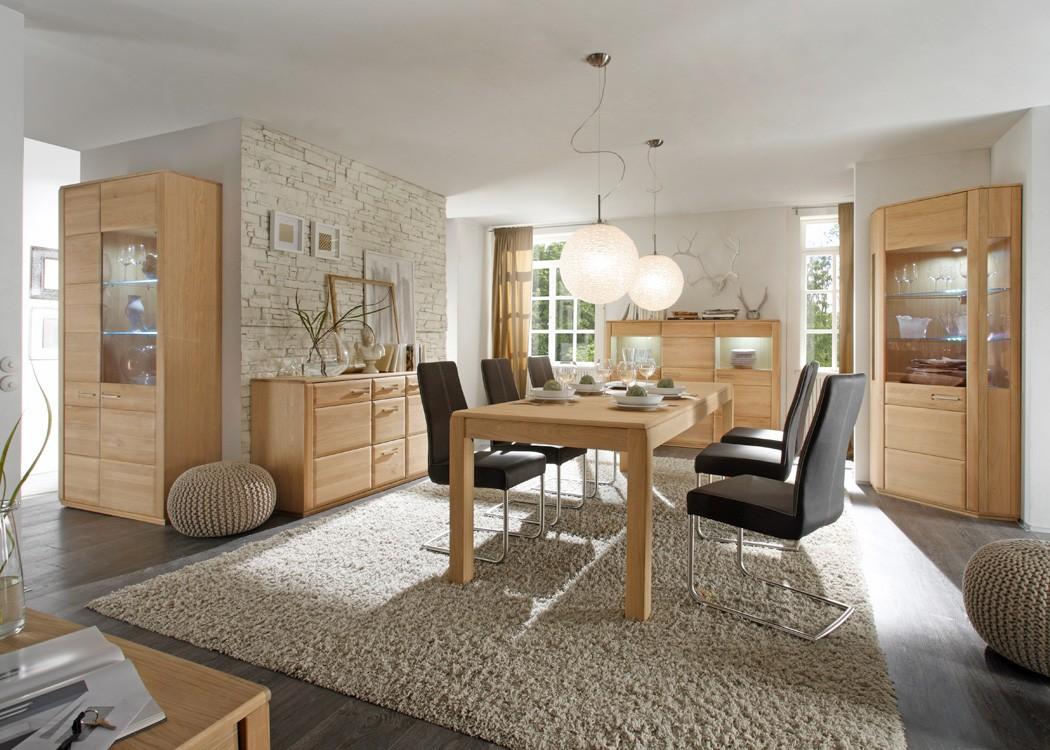 esszimmer senta 41 eiche bianco teilmassiv 5 teilig esstisch vitrine wohnbereiche esszimmer. Black Bedroom Furniture Sets. Home Design Ideas