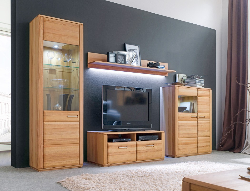 wohnwand senta 20 kernbuche teilmassiv 4 teilig medienwand tv wand wohnbereiche wohnzimmer wohnw nde. Black Bedroom Furniture Sets. Home Design Ideas
