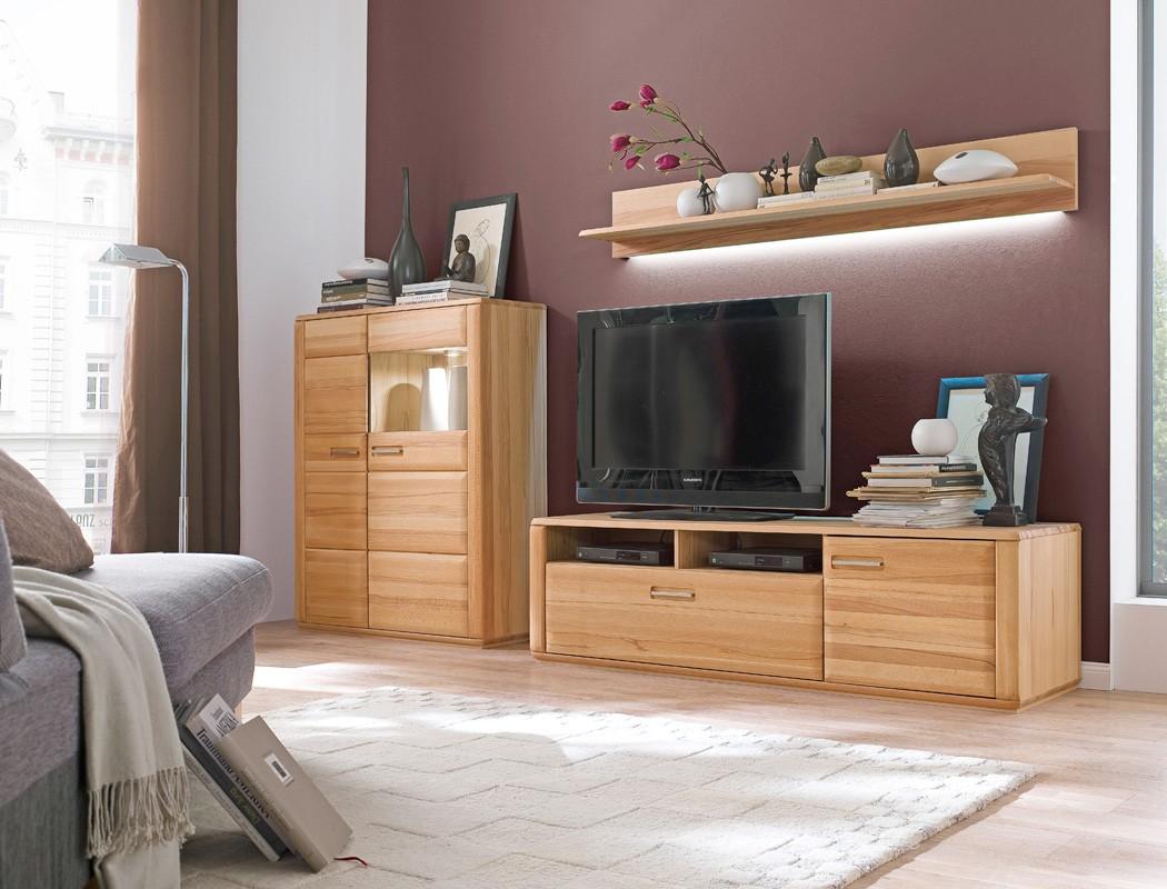 wohnwand senta 25 kernbuche teilmassiv 3 teilig medienwand tv wand wohnbereiche wohnzimmer wohnw nde. Black Bedroom Furniture Sets. Home Design Ideas
