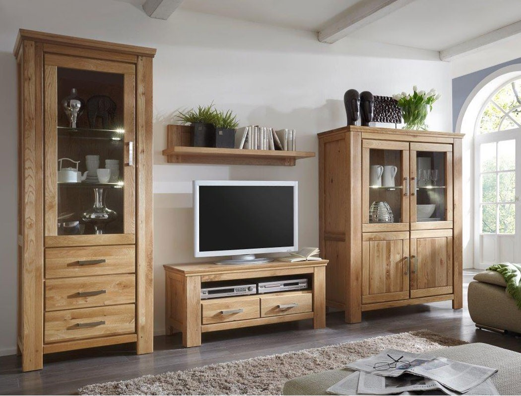 wohnwand wildeiche 4 teilig teilmassiv medienwand tv wand. Black Bedroom Furniture Sets. Home Design Ideas
