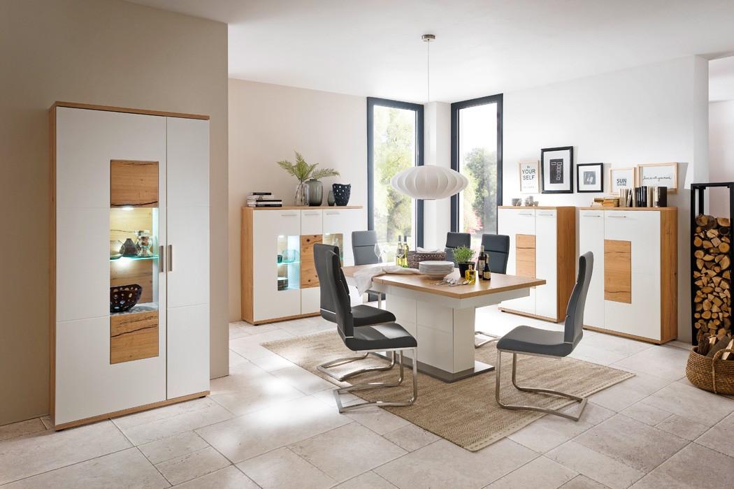 vitrine nina 5 wei crack eiche 95x206x37 glasvitrine vitrinenschrank wohnbereiche esszimmer. Black Bedroom Furniture Sets. Home Design Ideas
