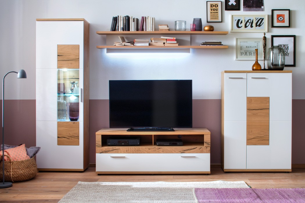 Tv möbel wand eiche  Wohnwand Nina 20 weiß Crack-Eiche 4-teilig Medienwand TV-Wand TV ...