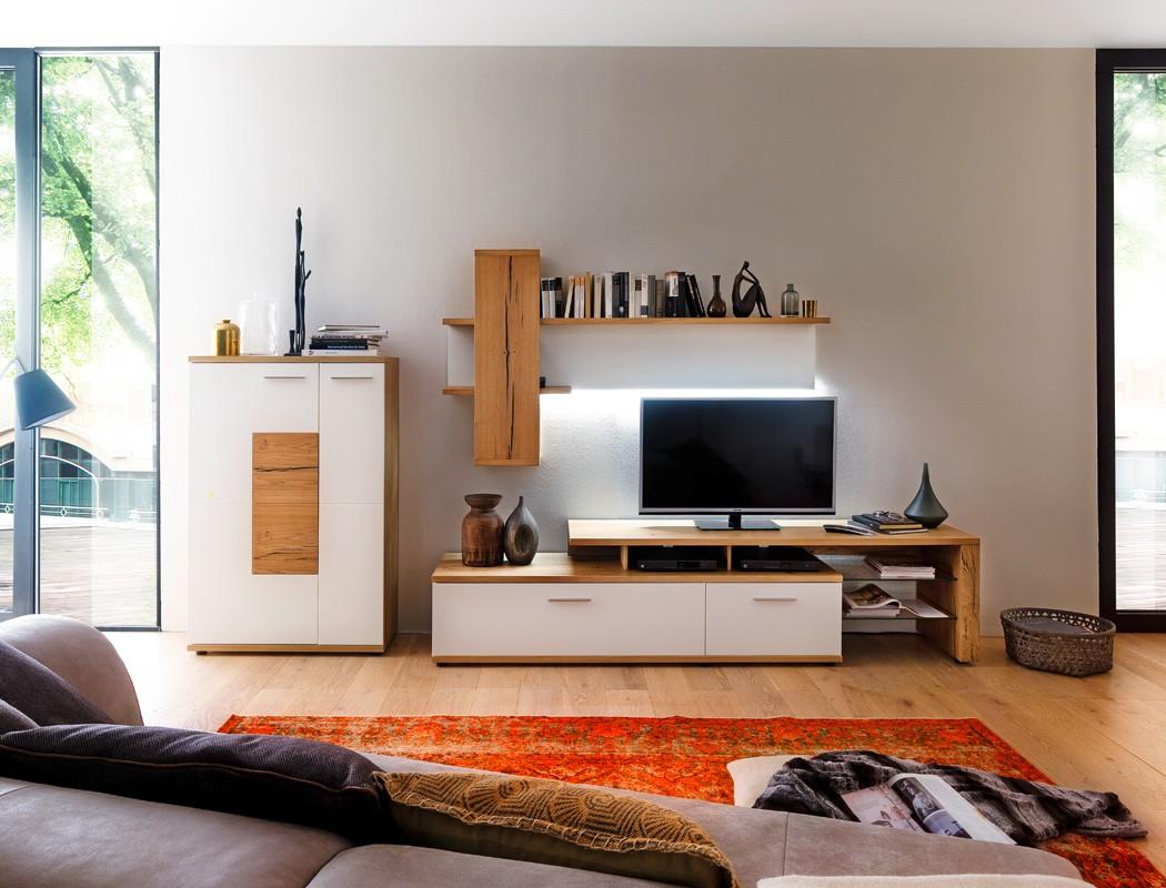 wohnwand nina 21 wei crack eiche 3 teilig medienwand tv wand tv m bel wohnbereiche wohnzimmer. Black Bedroom Furniture Sets. Home Design Ideas