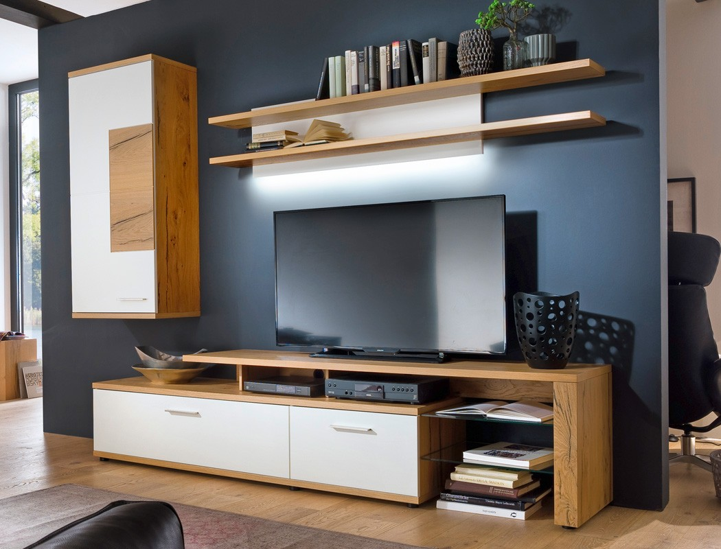 tv m bel wand eiche. Black Bedroom Furniture Sets. Home Design Ideas