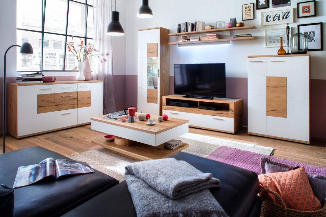 Wohnzimmer Nina 30 Weiss Crack Eiche 6 Teilig Wohnwand Sideboard Tisch