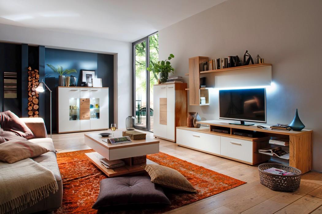 Wohnzimmer Nina 31 Weiss Crack Eiche 5 Teilig Wohnwand Highboard Tisch