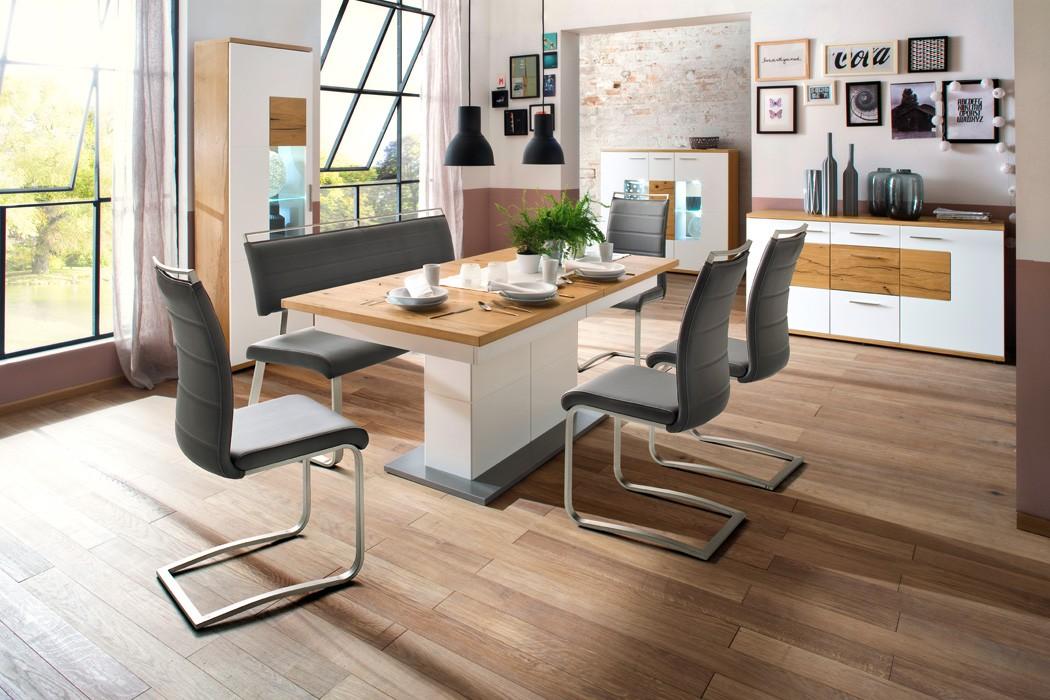 Esszimmer Nina 44 weiß Crack-Eiche Varianten Speisezimmer Tischgruppe Wohnbereiche Esszimmer ...