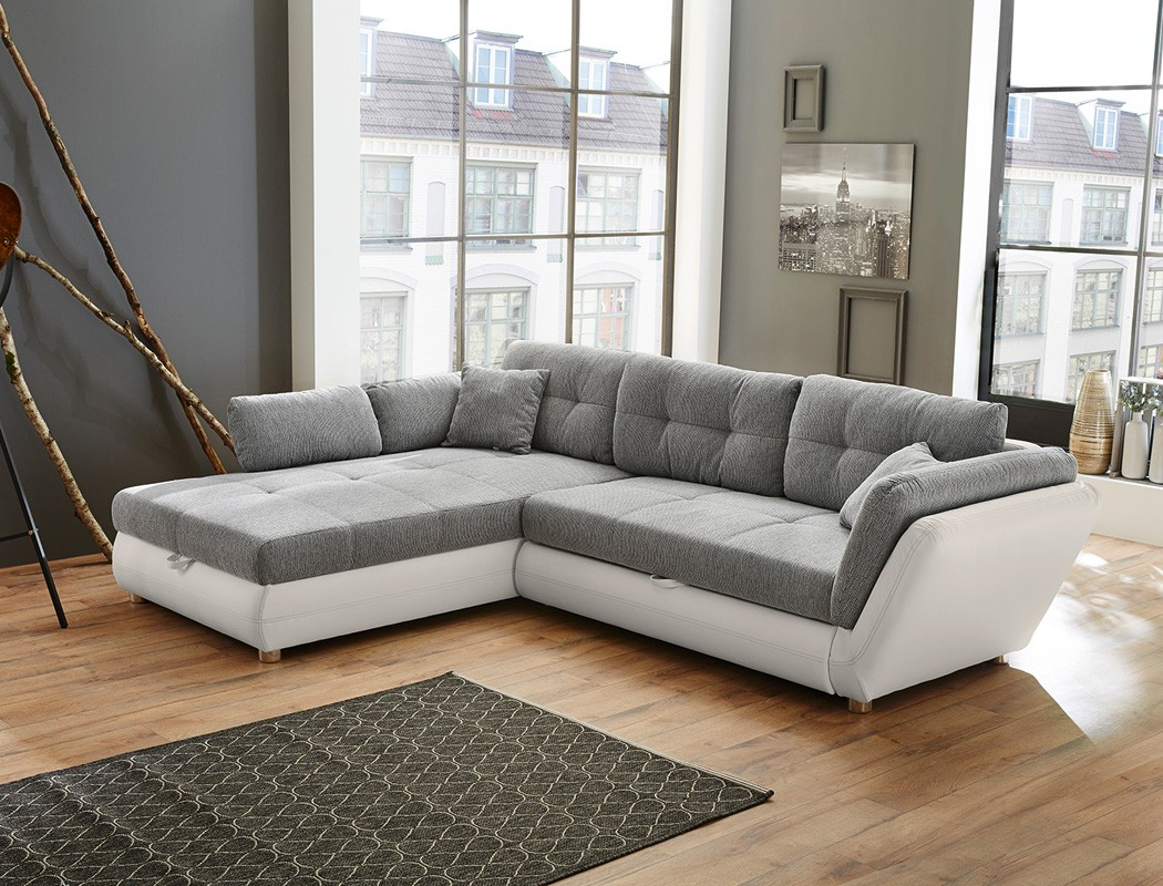 wohnlandschaft 297x207 cm grau wei funktionssofa eckcouch polsterecke jacobo ebay. Black Bedroom Furniture Sets. Home Design Ideas