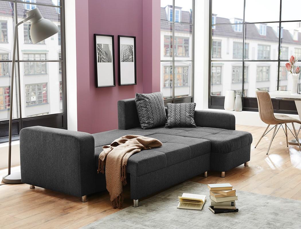 Wohnlandschaft lyrion 235x154 cm anthrazit funktionssofa for Sofa wohnlandschaft