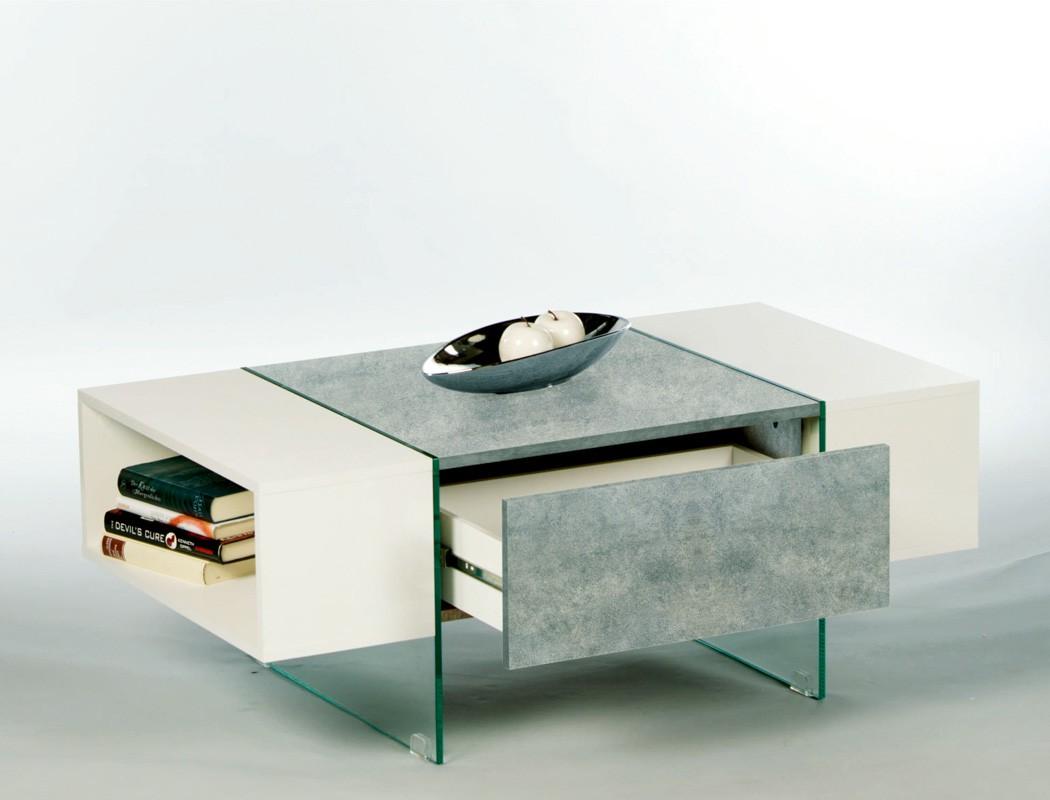 couchtisch 110x60x42 cm wei hochglanz beton dekor sofatisch beistelltisch fedra ebay. Black Bedroom Furniture Sets. Home Design Ideas